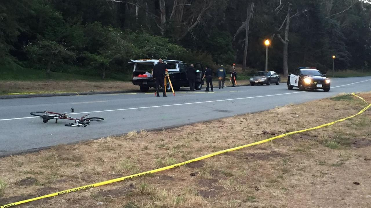 This image shows a fatal hit-and-run crash involving a bicyclist and car in San Franciscos Golden Gate Park on June 22, 2016.