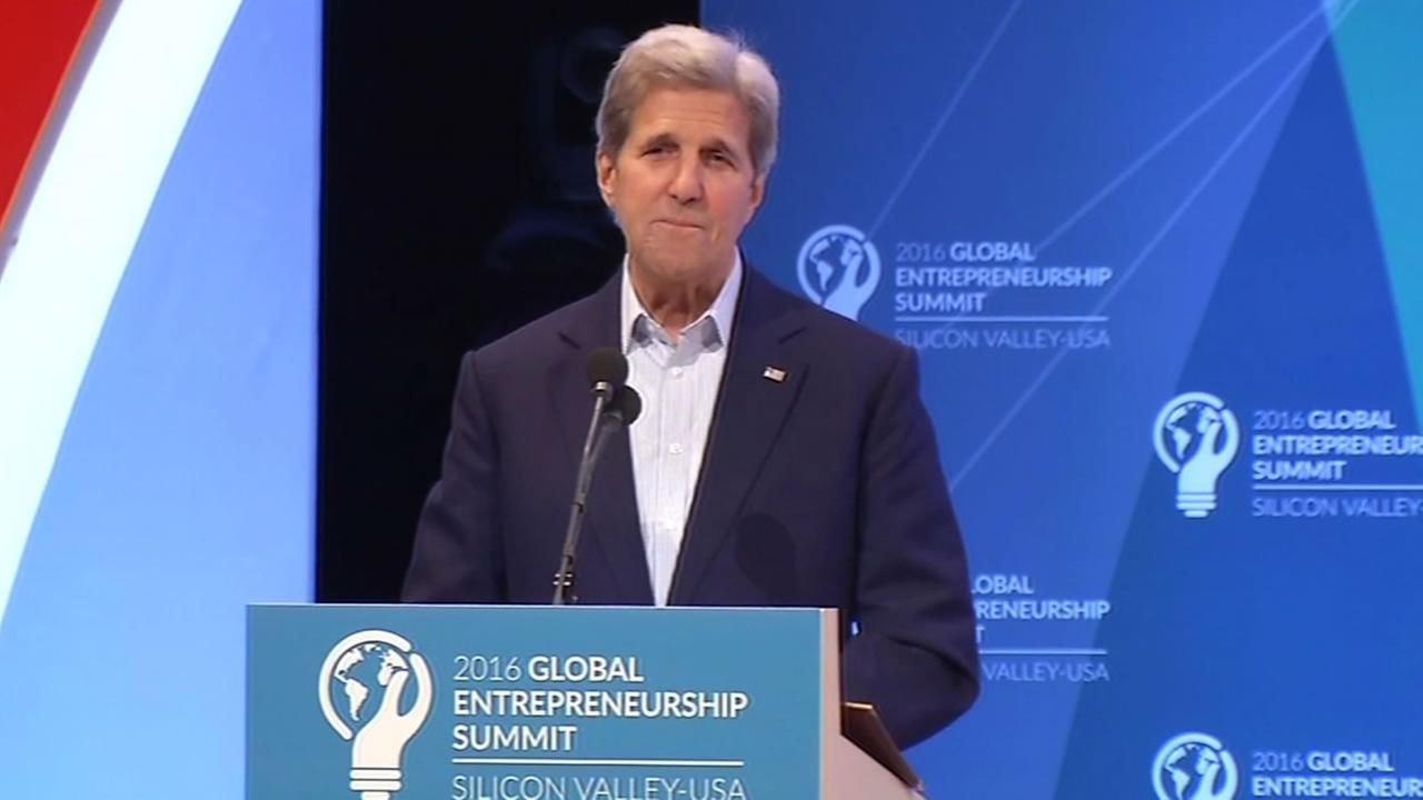 This image shows United States Secretary of State  John Kerry speaking at the Global Entrepreneurship Summit on June 23, 2016.