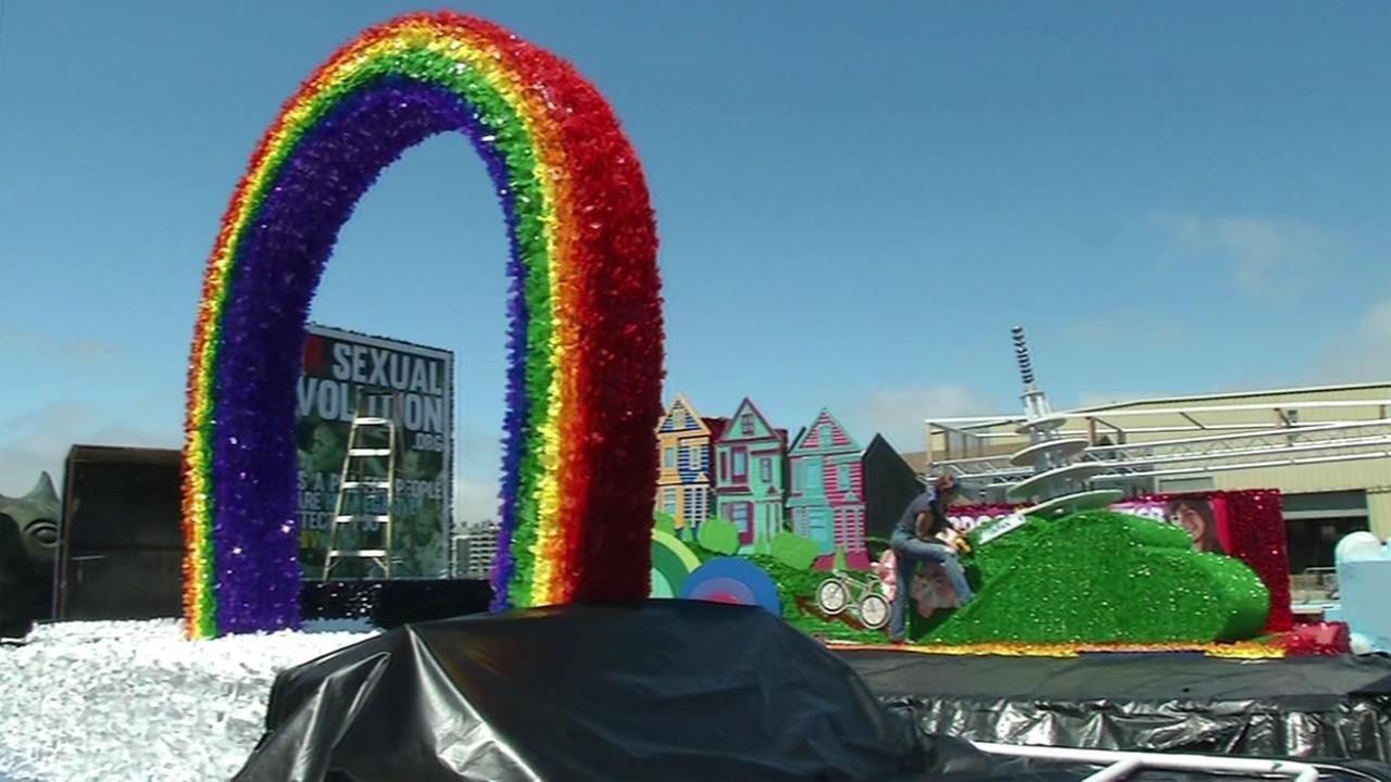 Crews put the finishing touches on a Pride float on Friday, June 24, 2016 in San Francisco.