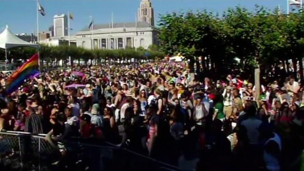 This image shows the 2015 LGBT Pride Celebration in San Francisco.