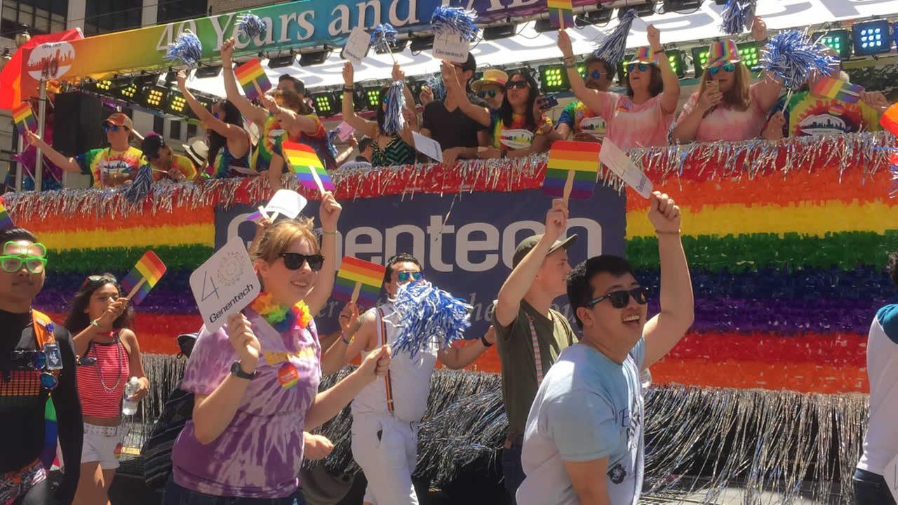 Participants march in the San Francisco Pride Parade on Sunday, June 26, 2016.