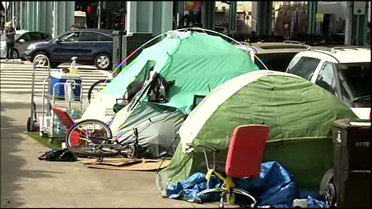 Tents where homeless people live are seen in San Francisco on Wednesday, June 29, 2016.