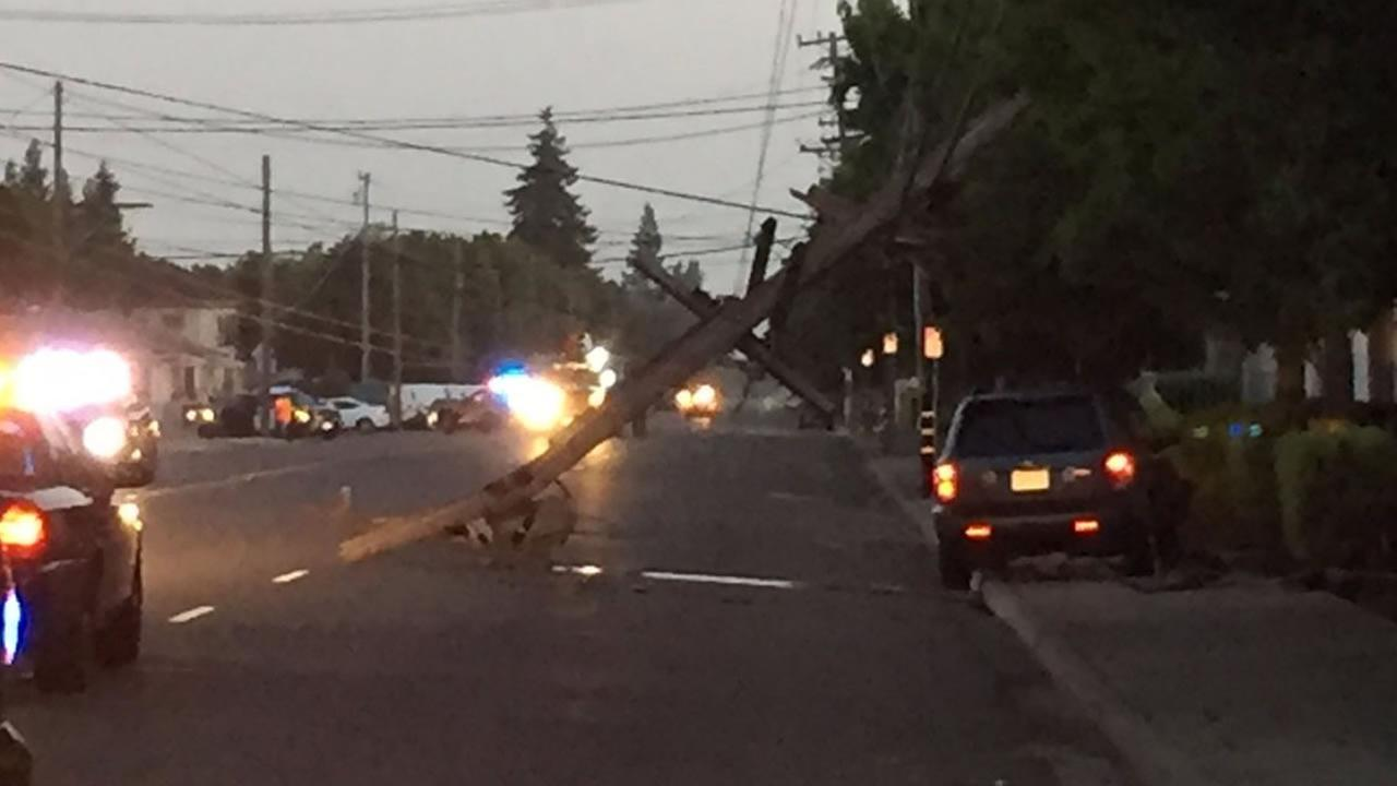 Approximately 4,000 PG&E customers left without power after a car accident knocked out a power pole in Hayward, Calif. on Friday, July 1, 2016.