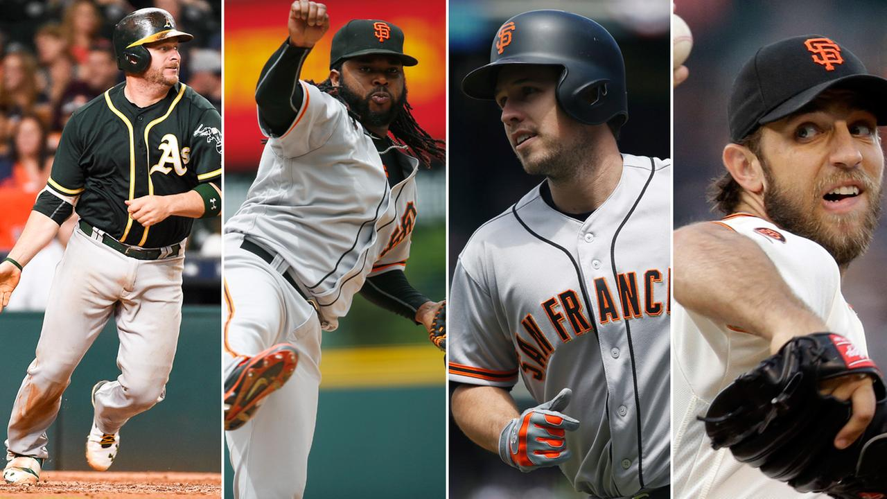 FILE -- (Left to right) Oakland As Stephen Vogt, and San Francisco Giants Johnny Cueto, Buster Posey and Madison Bumgarner.