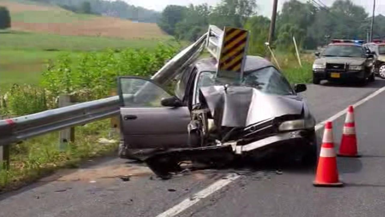 This undated image shows an accident involving a controversial guardrail.