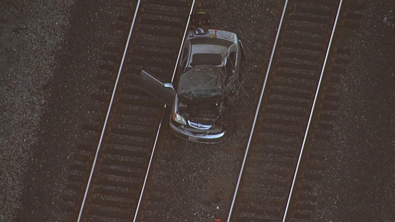 Caltrain struck an unoccupied vehicle in Burlingame, Calif. on Monday, July 11, 2016.