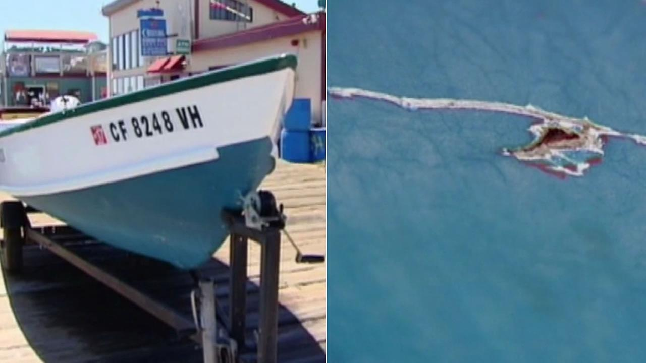 A man says a great white shark took a bite out of his boat in Santa Cruz County, Calif. on Friday, July 8, 2016