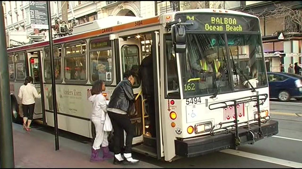 FILE - San Francisco Muni bus