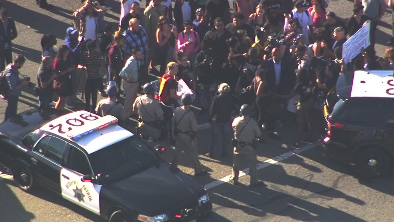 Sky7 HD caught tense moments between law enforcement and Black Lives Matter activists during a protest in Oakland, Calif. on Friday, July 15, 2016.