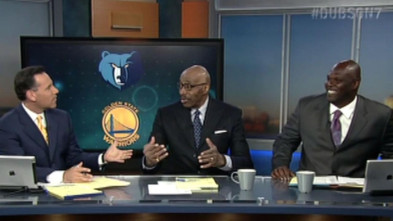 This image shows ABC7 Sports anchor Larry Beil, (left), Warriors Hall of Famer Nate Thurmond (center), and Warriors ambassador Adonal Foye (right) as they host After the Game.