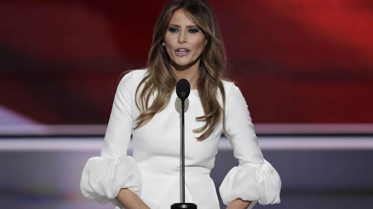 Melania Trump, wife of Republican Presidential Candidate Donald Trump, speaks during the opening day of the RNC in Cleveland, Monday, July 18, 2016. (AP Photo/J. Scott Applewhite)