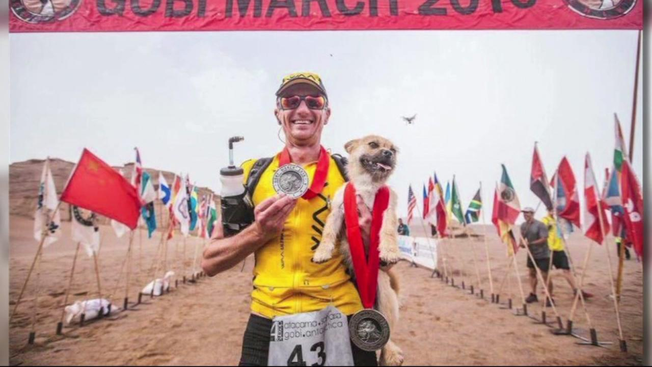 Dion Leonard poses with the dog he nicknamed Gobi after who ran with him for 77 miles in a race across the Gobi Dessert.