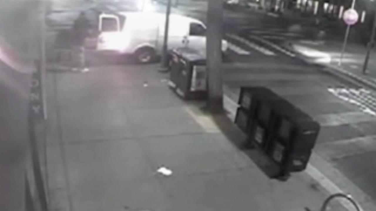 Police say a team of burglars used a battering ram to break into a Fishermans Wharf photo and video shop in San Francisco on Tuesday, August 9, 2016.
