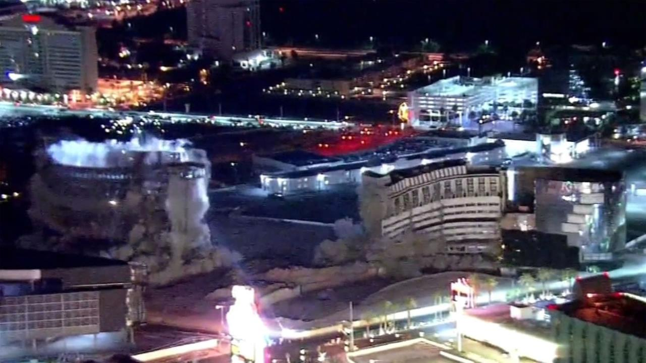 The last tower of the iconic Riviera Hotel and Casino came tumbling down along the strip early Tuesday, August 16, 2016 in Las Vegas, Nevada.