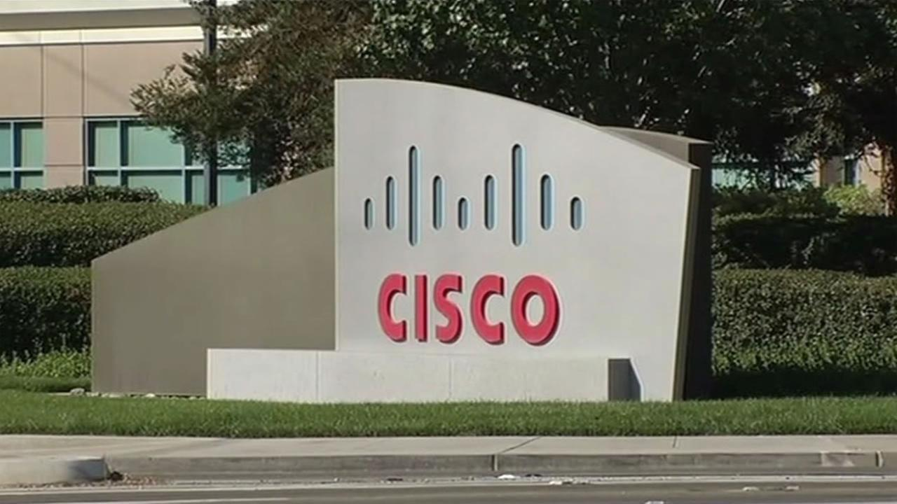 This sign sits in front of tech company Cisco in San Jose, Calif. on Wednesday, August 17, 2016.