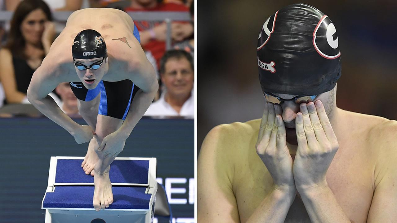 Jack Conger, left, and Gunnar Bentz, right, are seen at the 2016 U.S. Olympic swimming trials in Omaha, Neb.