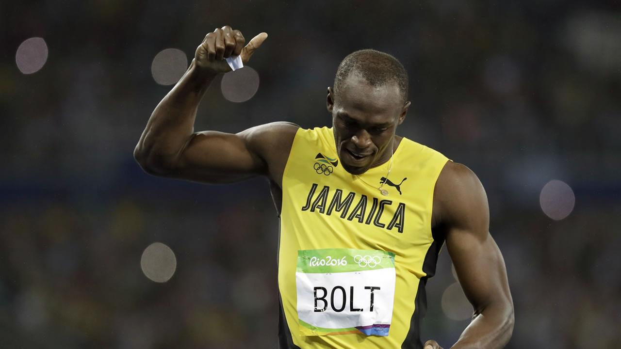 Usain Bolt from Jamaica celebrates winning the gold medal in the mens 200-meter final during the athletics competitions of the 2016 Summer Olympics on August 18, 2016.