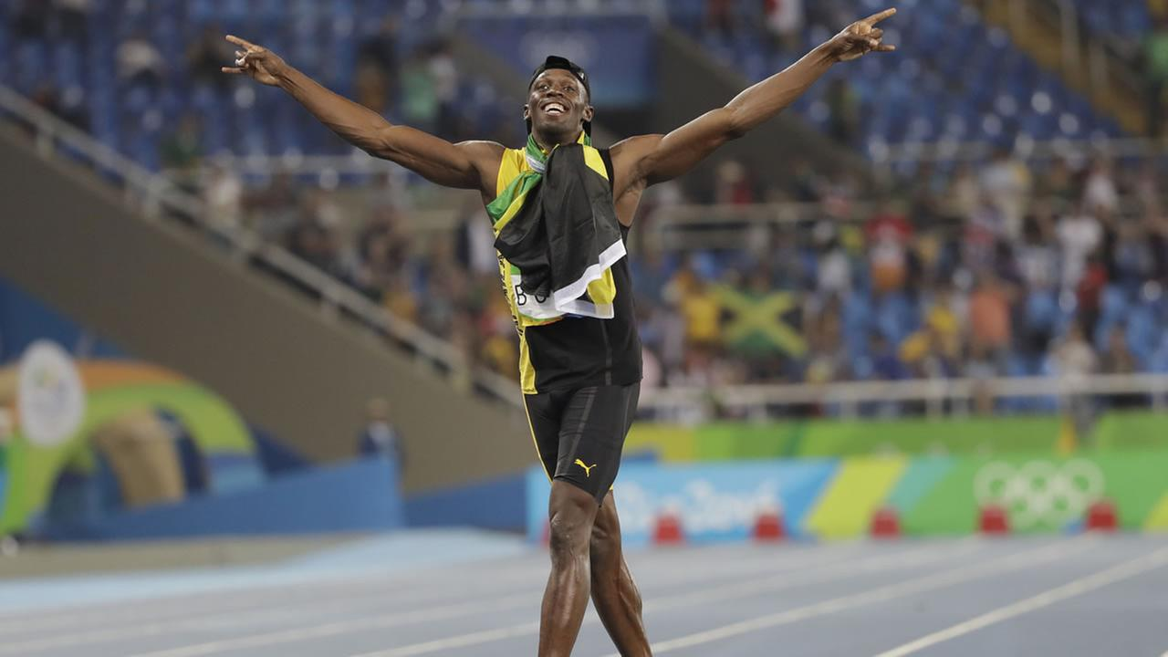 Jamaicas Usain Bolt celebrates winning the gold medal in the mens 4x100-meter relay final during the athletics competitions of the 2016 Summer Olympics in Rio de Janeiro, Brazil.