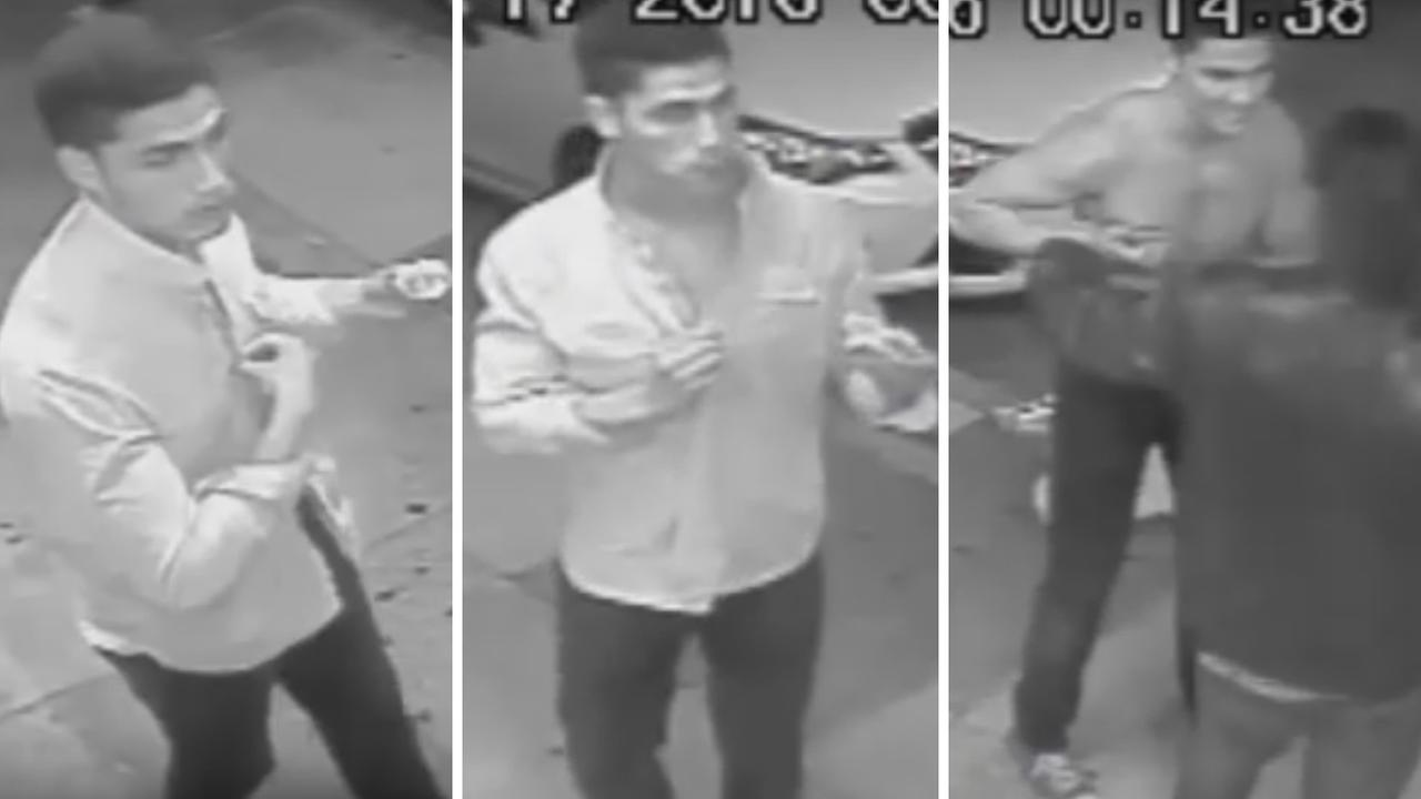 These images from surveillance video show a man who San Francisco police say bit a bartenders finger off outside Silver Clouds Restaurant and Karaoke Bar on July 17, 2016.