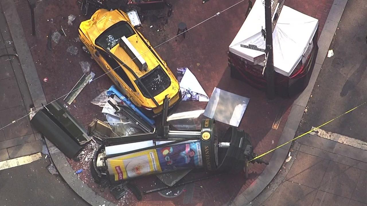 Injuries were reported after a taxi crashed into pedestrians in San Franciscos Financial District on Tuesday, August 23, 2016.