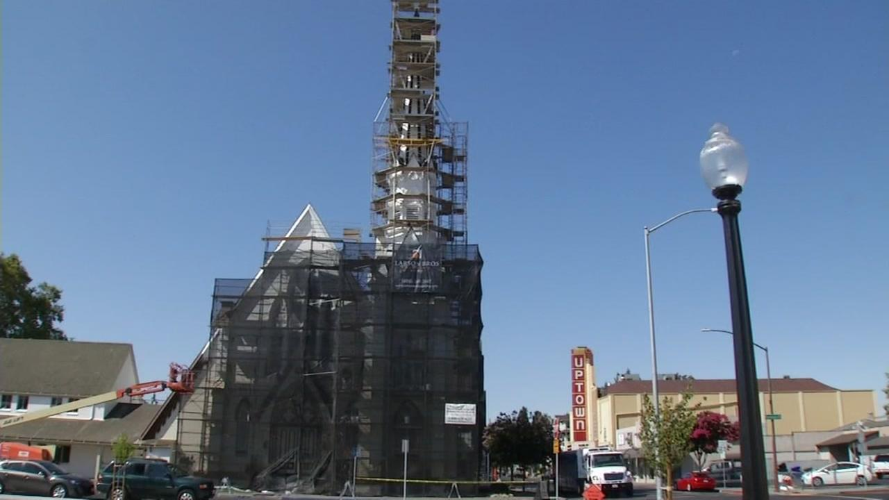 This image from August 24, 2016 shows a building still under construction two years after the Napa Quake struck in Napa, Calif.