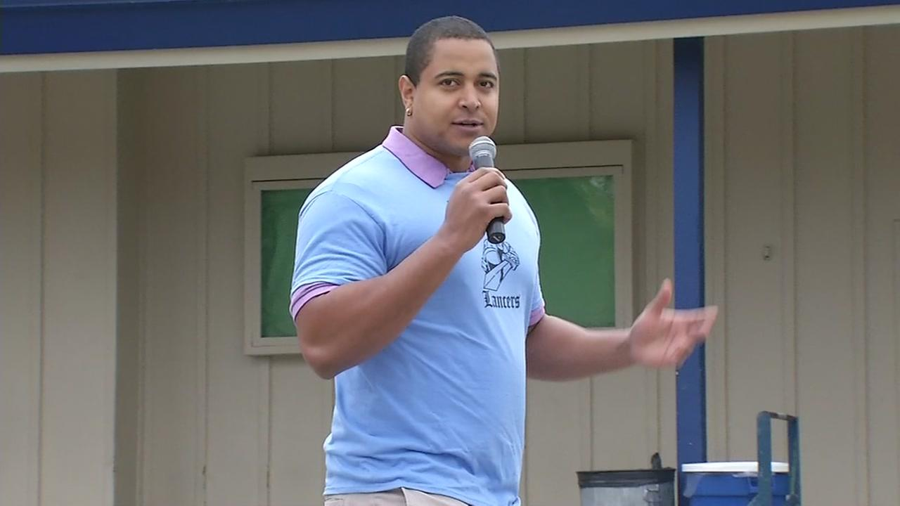 Former San Francisco 49ers offensive tackle Jonathan Martin is bringing his anti-bullying message to classrooms throughout the South Bay, speaking at Piedmont Middle School in San Jose on Friday, Aug. 26, 2016.