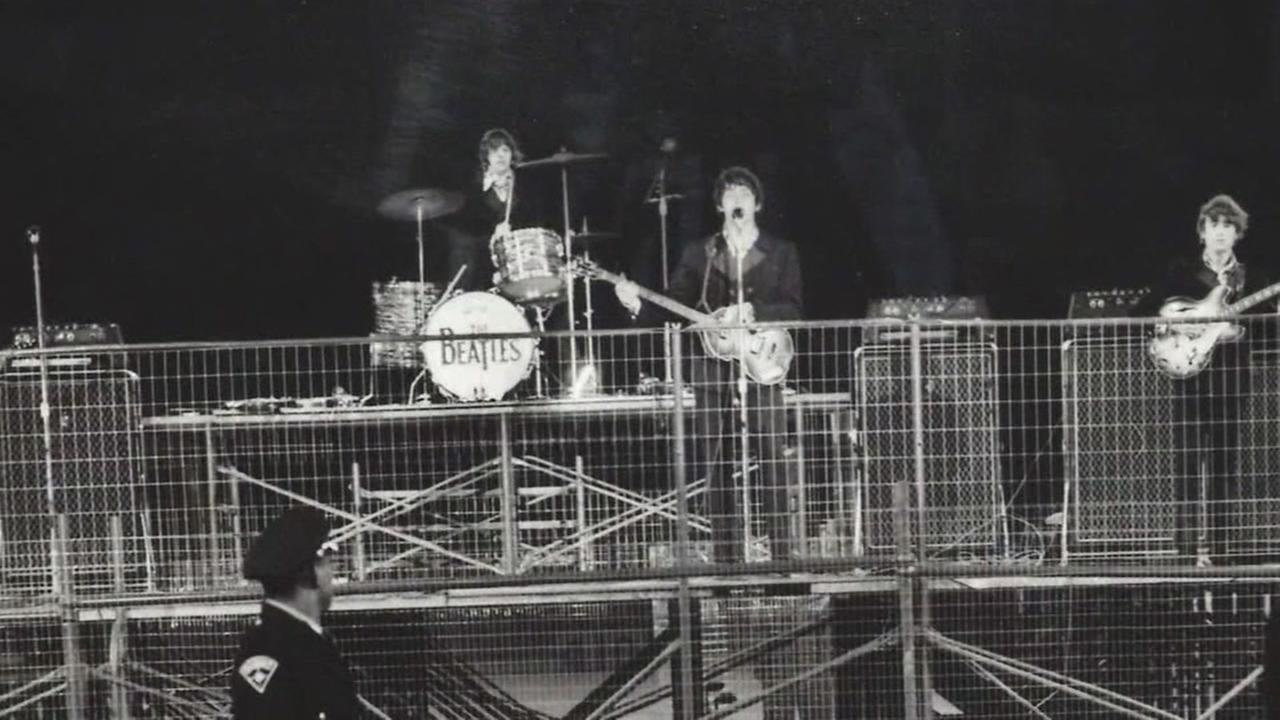 In this photo taken Aug. 29, 1966, the Beatles perform at Candlestick Park in San Francisco.