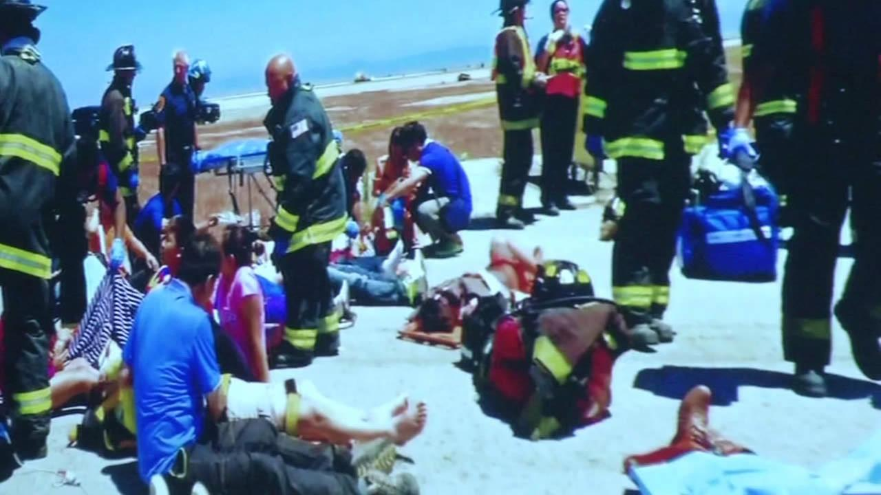Emergency responders treat Asiana Airlines crash victims at SFO.