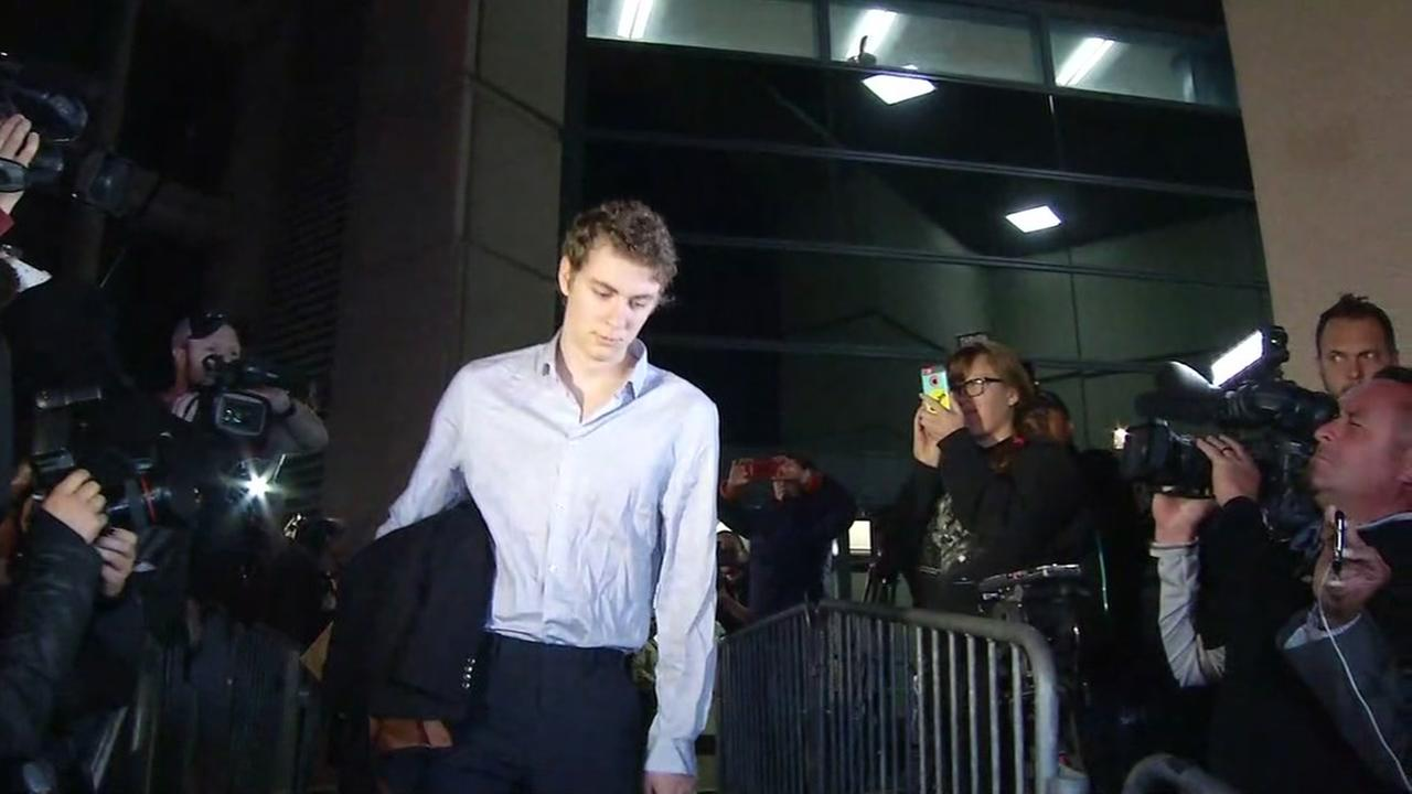 Brock Turner walks out of Santa Clara County Jail on Friday, September 2, 2016 in San Jose, Calif.