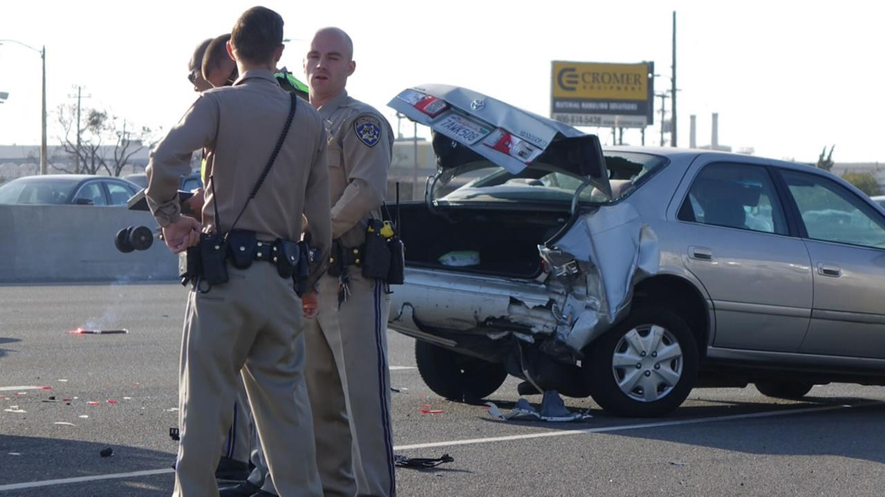 The CHP investigates an accident and shooting that may be connected on NB I-880 in Oakland, Calif. on Sunday, September 4, 2016.