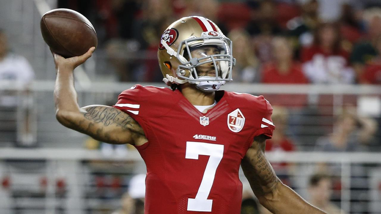 Colin Kaepernick throws the ball during the first half of an NFL preseason football game against the Green Bay Packers on Friday, Aug. 26, 2016, in Santa Clara, Calif.