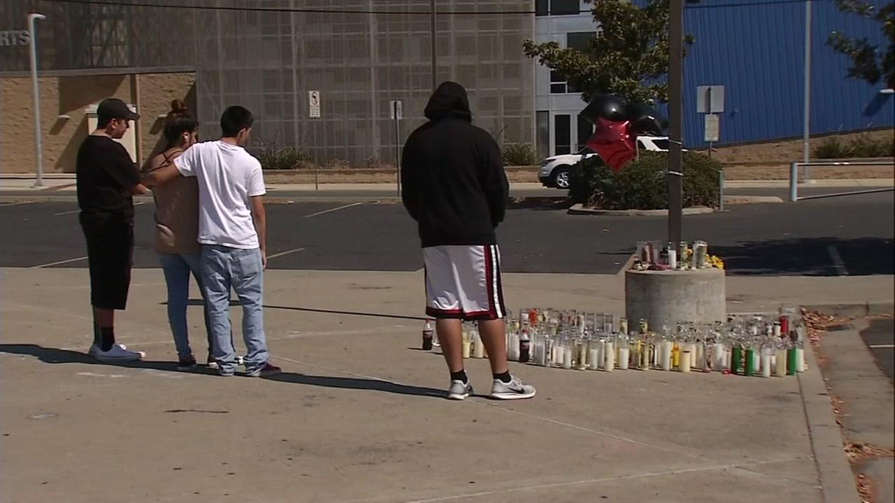 Students gather at James Logan High School on Monday, September 5, 2016, the day day after two teens  died in a crash on I-880 in Hayward, Calif.