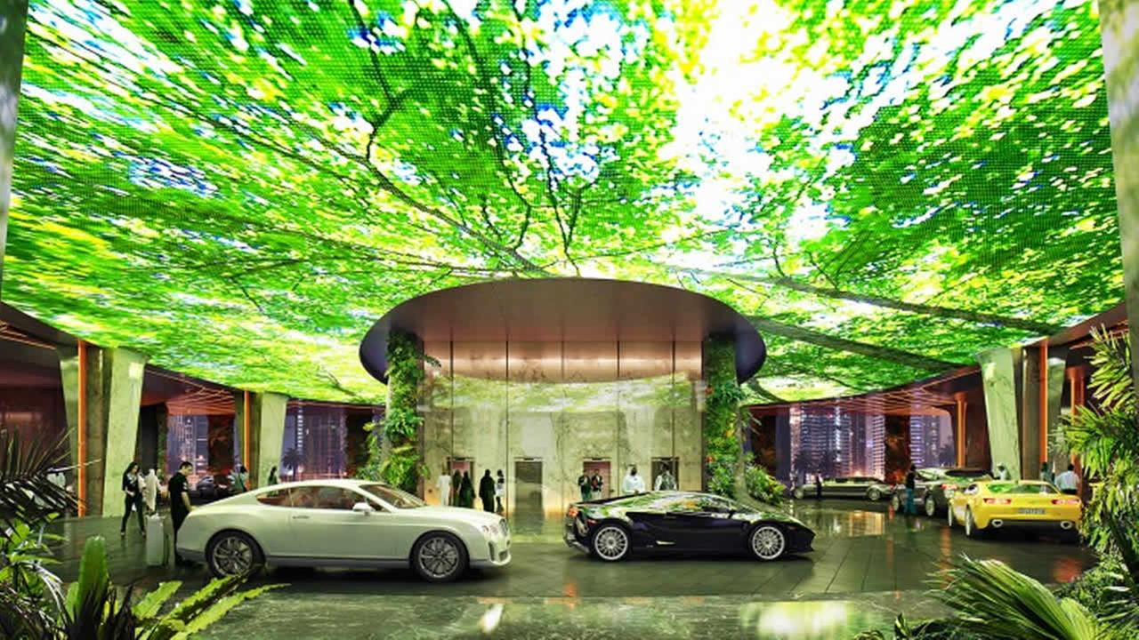 This undated image shows a rendering for a first-of-its-kind indoor tropical rainforest planned for the upcoming Rosemont Five Star Hotel and Residences in Dubai.