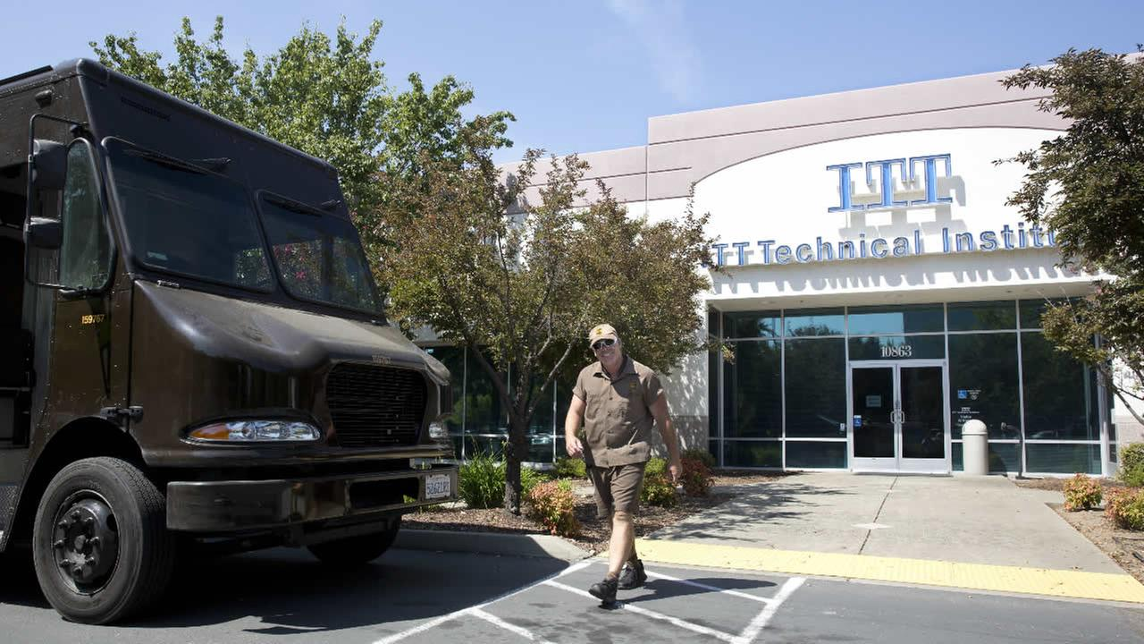 ITT Technical Institute campus when he found the doors locked when he came to check for any packages to pickup, Tuesday, Sept. 6, 2016, in Rancho Cordova, Calif.