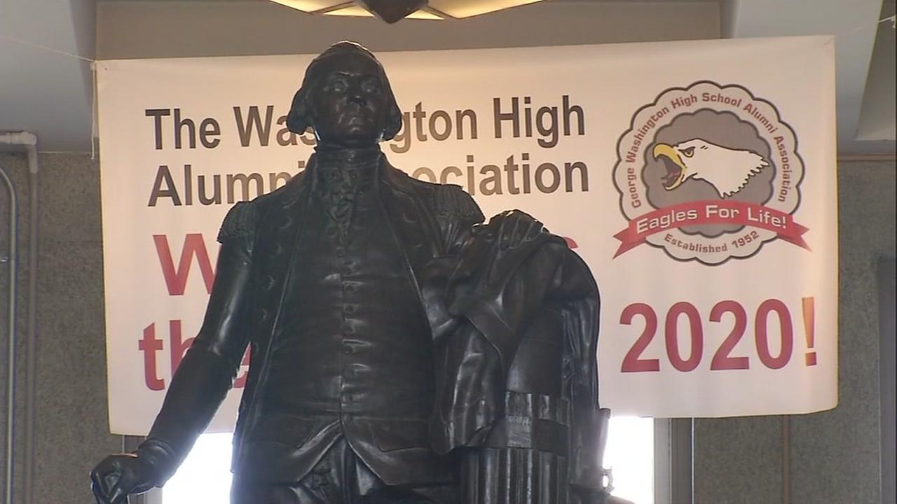 A statue of George Washington it seen at George Washington High School in San Francisco on Tuesday, September 6, 2016.