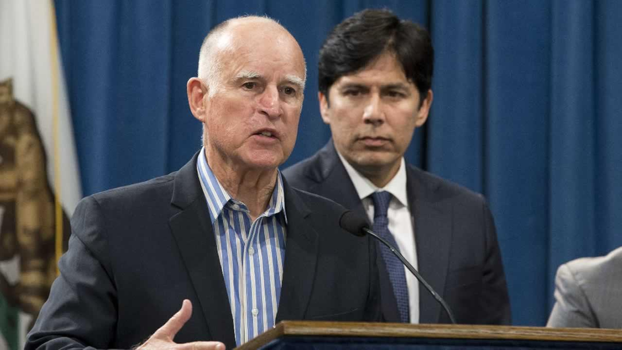 In this Wednesday, Aug. 24, 2016 file photo, Calif., Gov. Jerry Brown announced that he would sign a pair of environmental bills approved by the Legislature in Sacramento, Calif.
