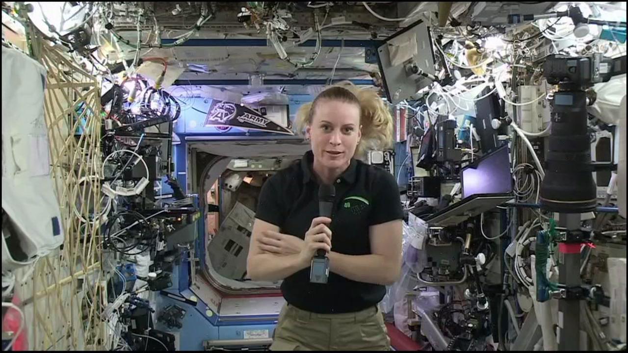 Astronaut Kate Rubins speaks to students from Vintage High School in Napa, Calif. from the International Space Station on Wednesday, September 14, 2016.