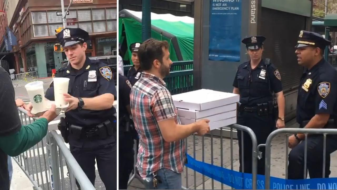 Thankful residents are treating New York police and fire department employees to coffee and pizza to thank them for their work after the explosions in Chelsea.