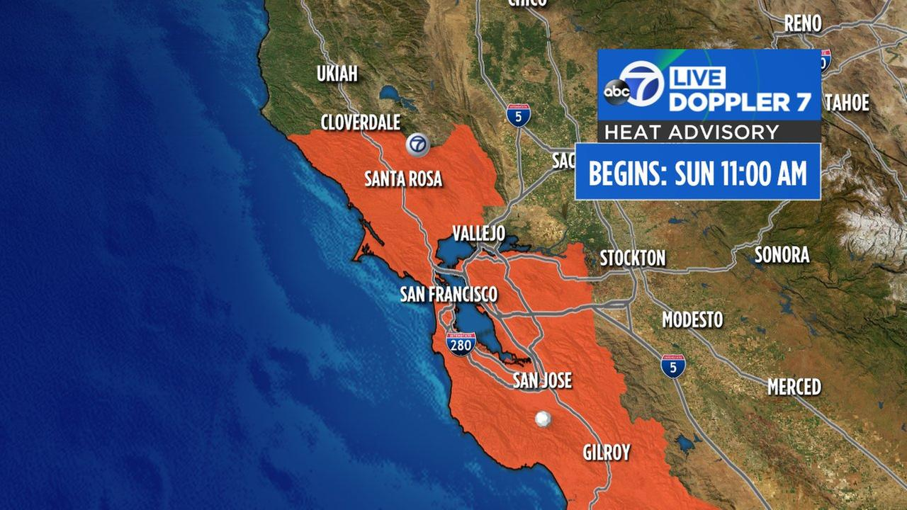Heat Advisory issued for Bay Area on Sunday and Monday