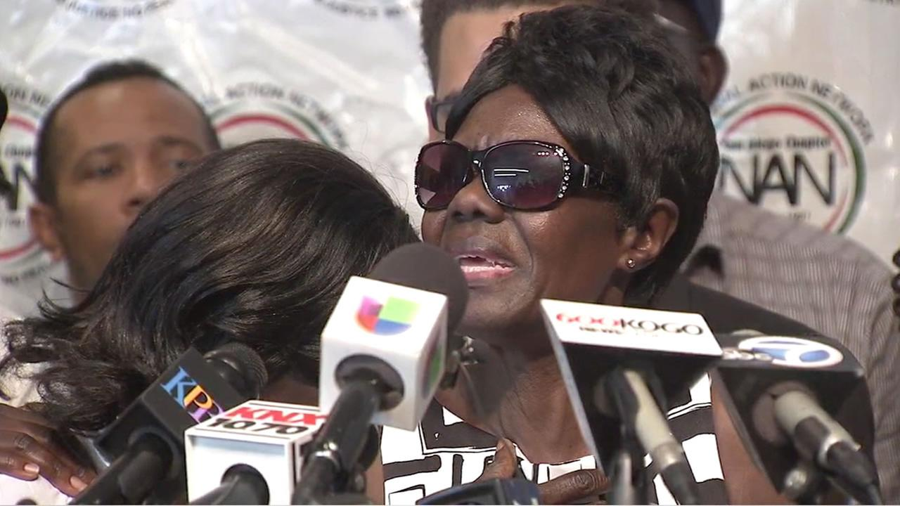 Pamela Benge, the mother of Alfred Olango, who was fatally shot by police, is shown speaking at a press conference on Thursday, Sept. 29, 2016.