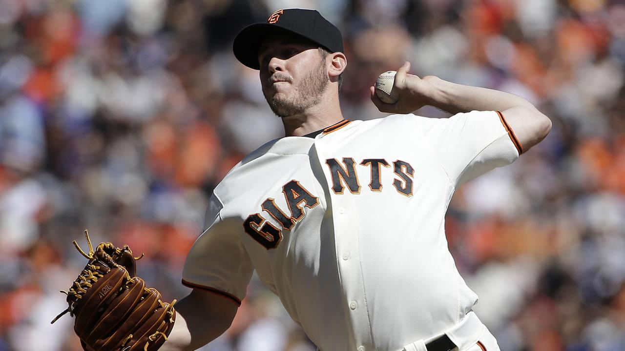 San Francisco Giants pitcher Ty Blach throws against the Los Angeles Dodgers during the first inning of a baseball game in San Francisco, Saturday, Oct. 1, 2016.