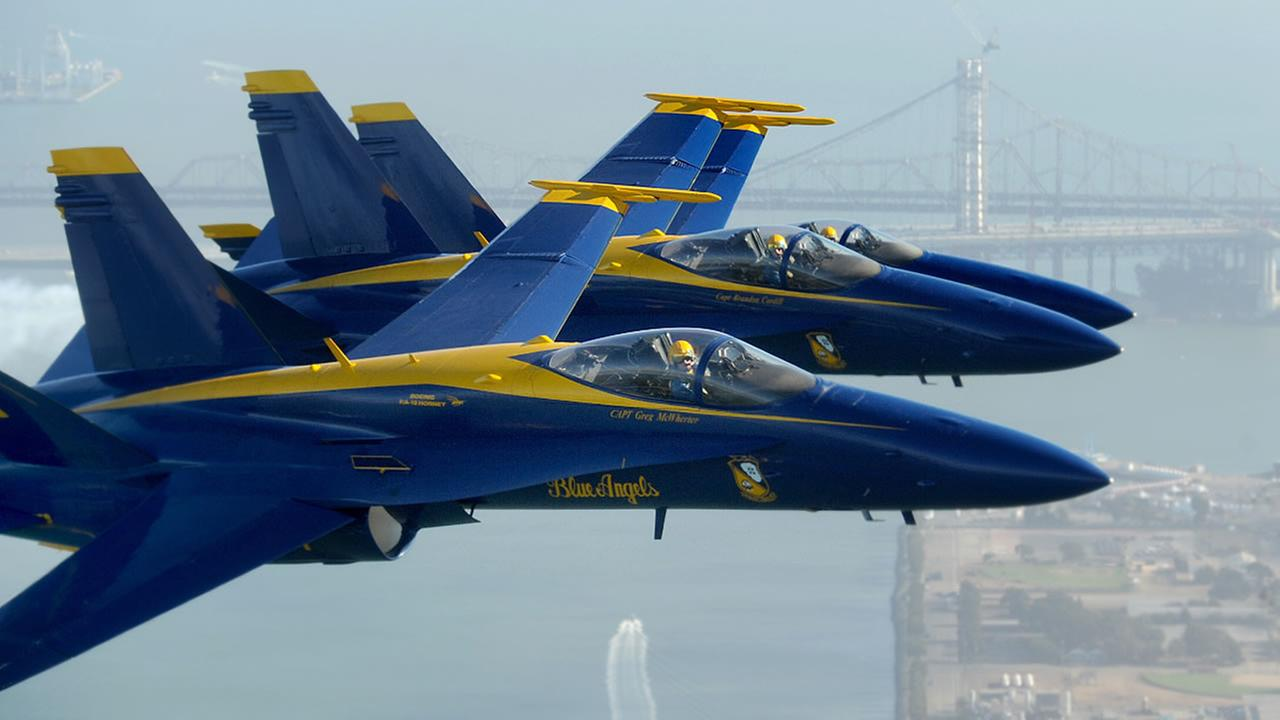 In preparation for Fleet Week performances, the U.S. Navy Blue Angels fly over the San Francisco Bay on Thursday, Oct. 4, 2012.