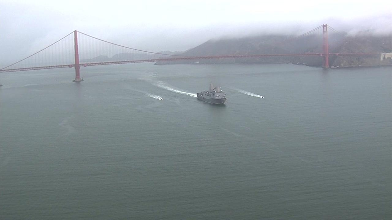 USS San Diego makes its way under the Golden Gate Bridge for Fleet Week  in San Francisco on Monday, October 3, 2016.