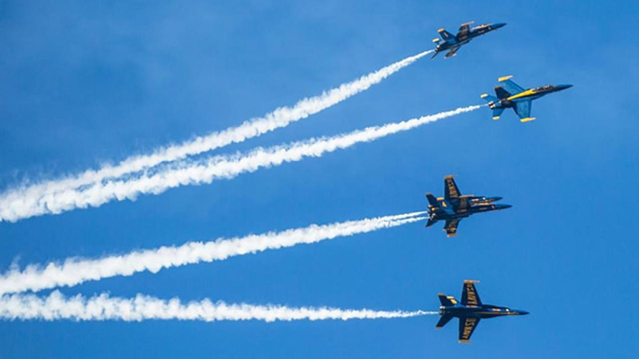 The Blue Angels are seen flying over San Francisco, Calif. on Sunday, October 9, 2016.
