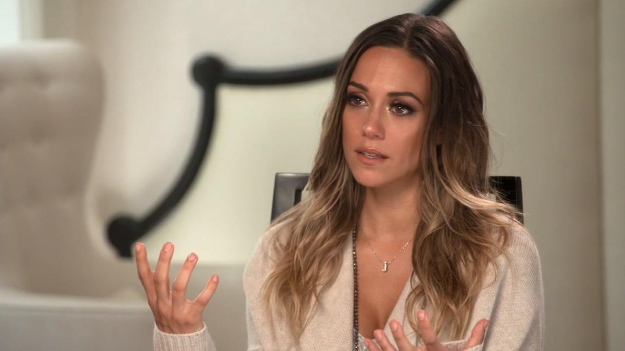 THis image shows Dancing With the Stars Jana Kramer during an interview on ABCs Nightline in which she talks about her abusive marriage.