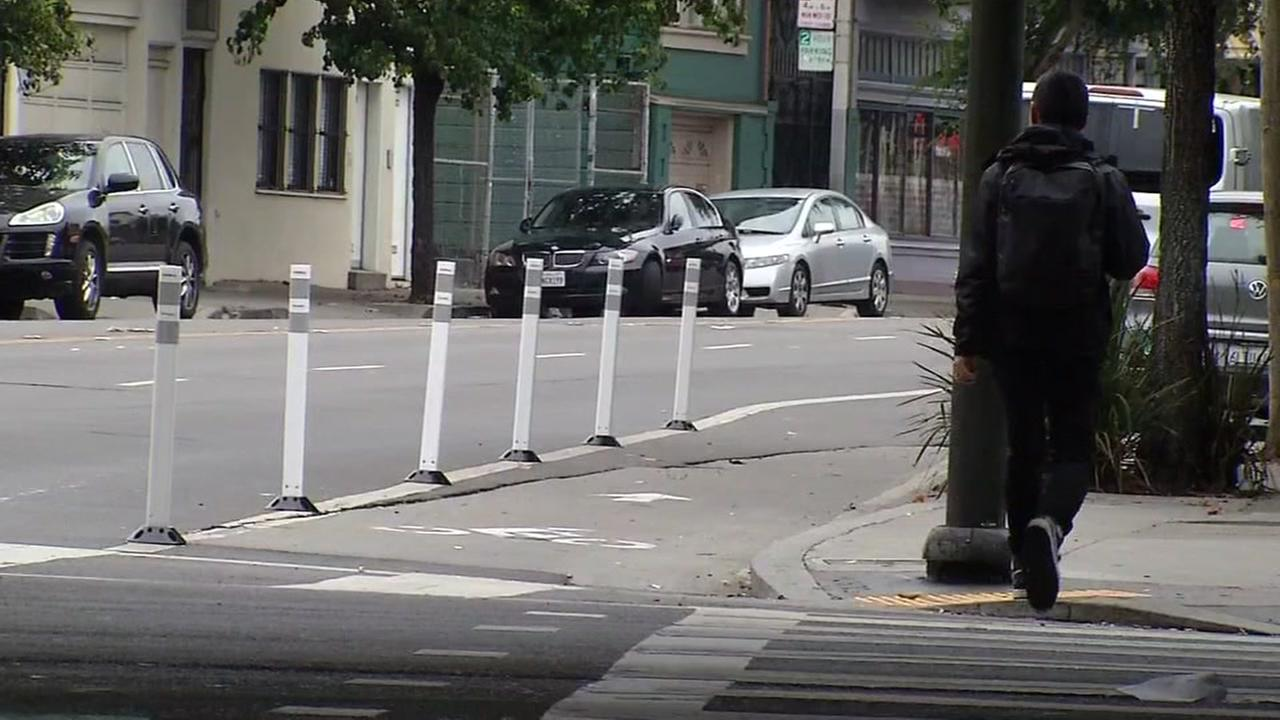 This image shows street cones that were installed overnight at Folsom and 13th Streets in San Francisco by a group called SF Transformations on Oct. 12, 2016.