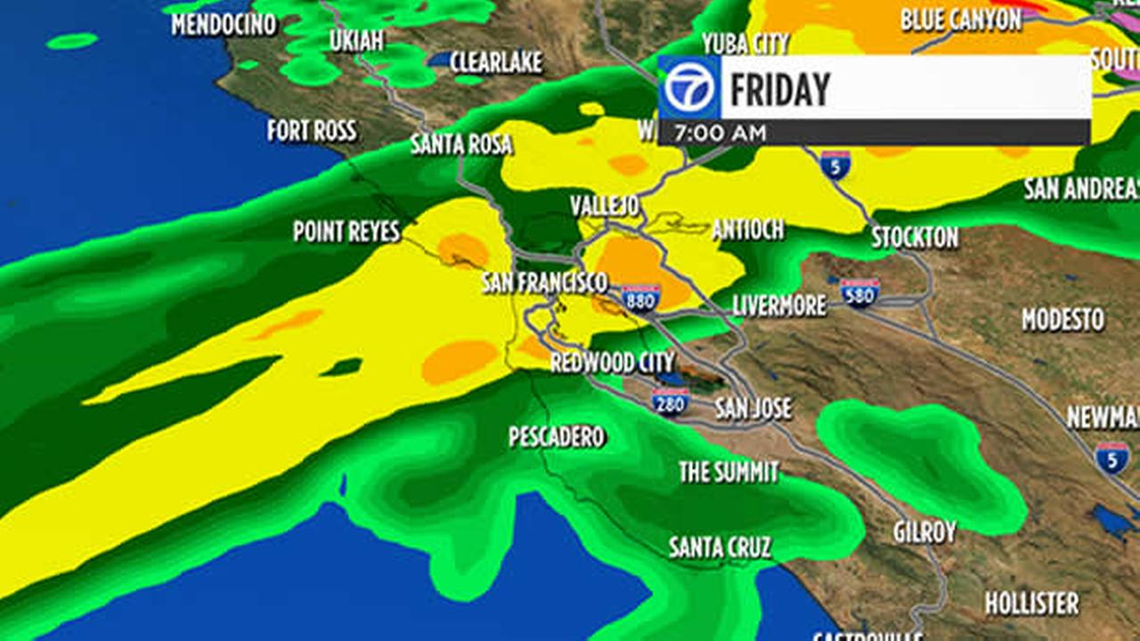 Live Doppler 7HD shows rain totals the Bay Area will get on Friday, October 14, 2016.