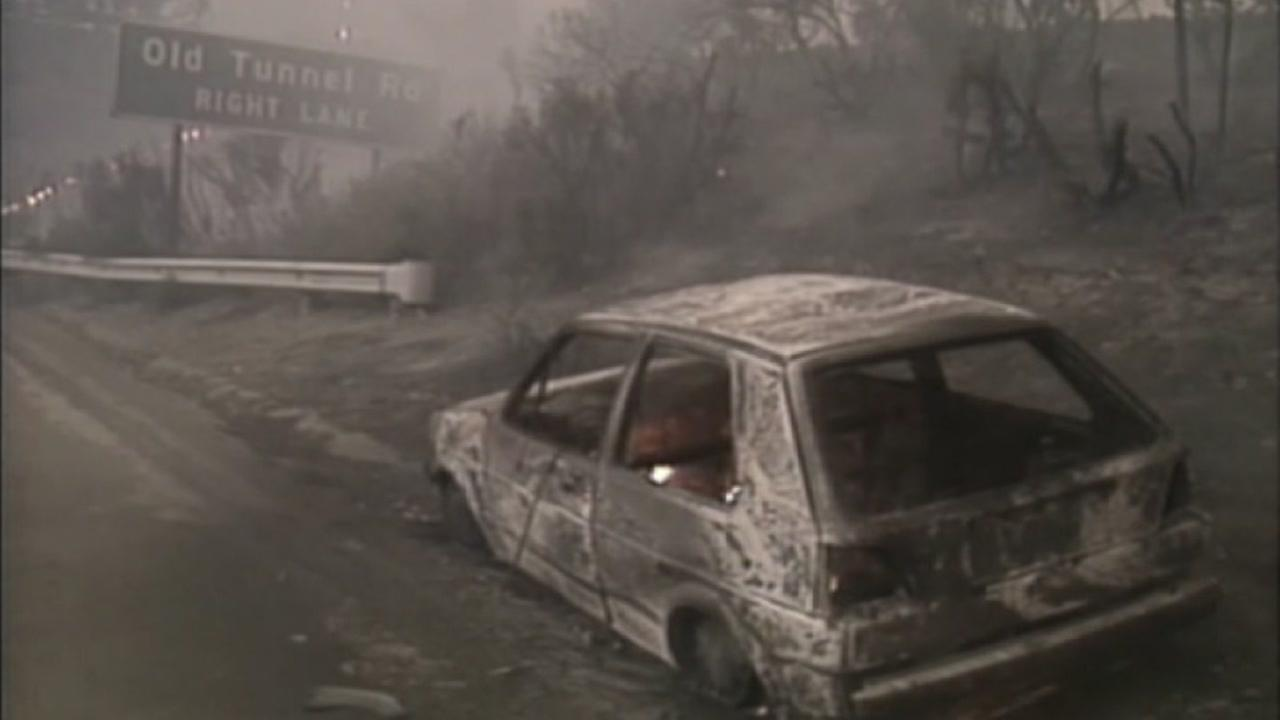This image from Oct. 1991 shows a burned out car in Oakland, Calif. following the devastating firestorm in the Oakland Hills.
