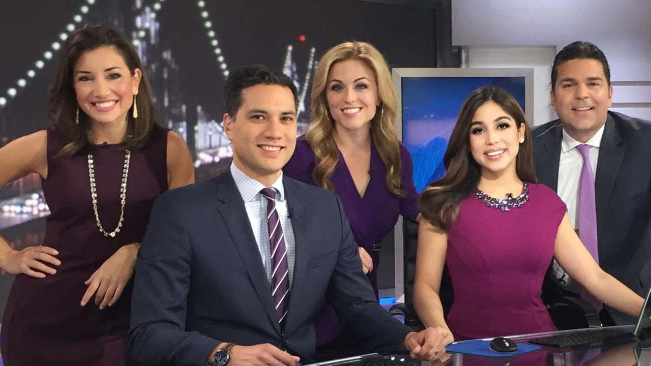 The ABC7 Mornings team wears purple in support of Spirit Day on Thursday, Oct. 20, 2016.