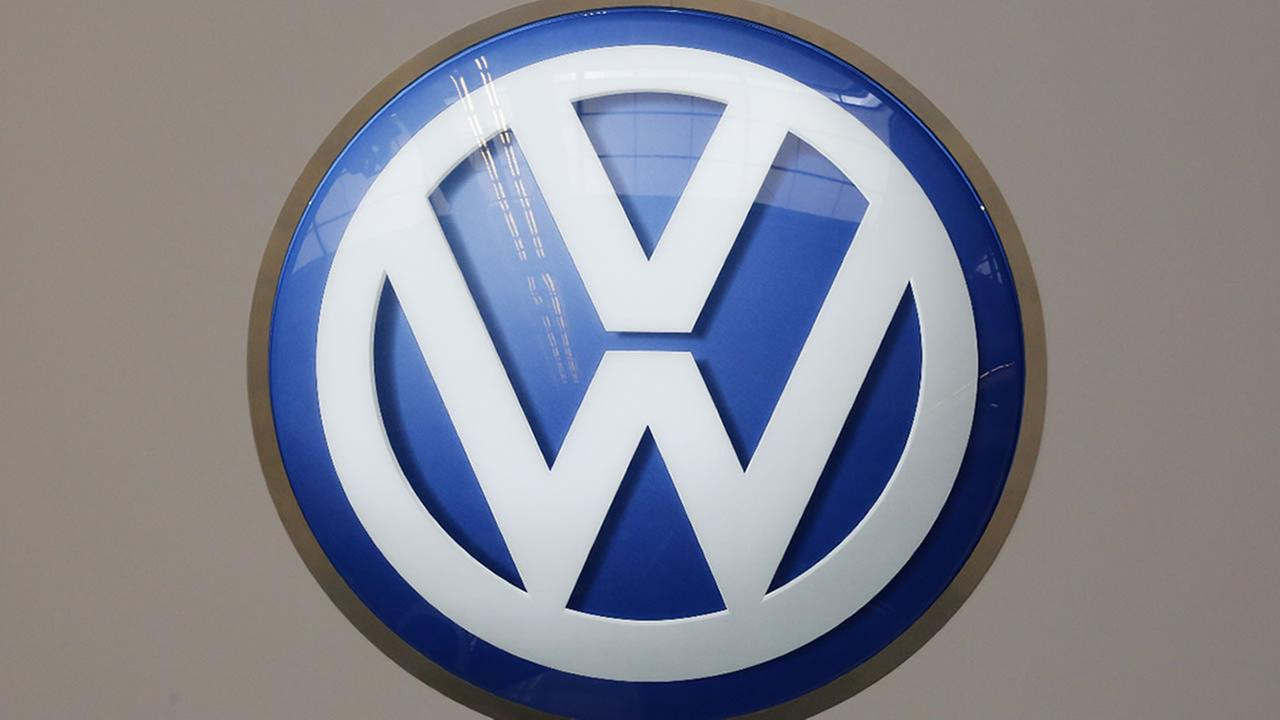 This is the Volkswagen logo on display at the Pittsburgh International Auto Show in Pittsburgh Thursday, Feb. 11, 2016.